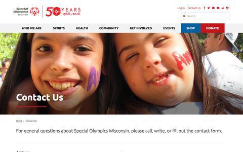 Screenshot of Contact Page specialolympicswisconsin.org - Contact Us - Special Olympics Wisconsin - captured Sept. 21, 2018