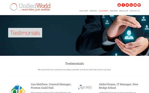 Screenshot of Testimonials Page unifiedworld.co.uk - Customer Testimonials | Unified World - captured Feb. 1, 2018