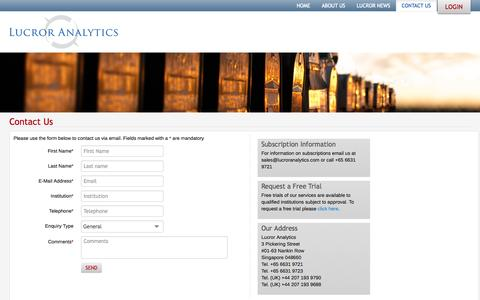 Screenshot of Contact Page lucroranalytics.com - ContactUs - captured Oct. 3, 2014
