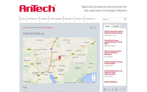 Screenshot of Maps & Directions Page antech.co.uk - How To Find Us - captured Feb. 6, 2016