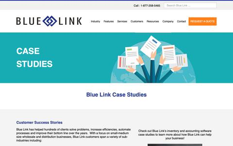 Screenshot of Case Studies Page bluelinkerp.com - Accounting & Inventory Case Studies - captured Oct. 6, 2018