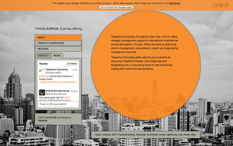 Screenshot of Home Page tangerineconsulting.asia - Tangerine Consulting - strategic management, interim management, procurement, project and engineering management services - captured Oct. 7, 2014
