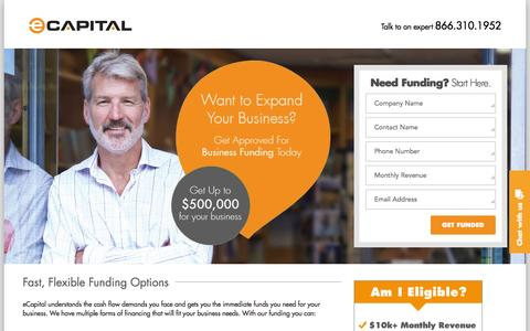 Screenshot of Landing Page ecapital.com - Business Funding - captured Feb. 17, 2016