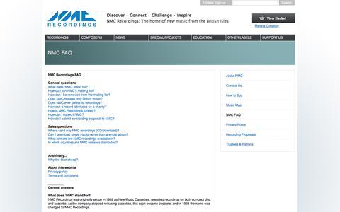 Screenshot of Privacy Page FAQ Page Terms Page nmcrec.co.uk - NMC FAQ | NMC Recordings - captured Oct. 25, 2017