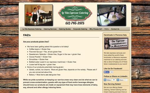 Screenshot of FAQ Page espressocaterer.com - Frequently Asked Questions | La Vita Espresso Catering Minneapolis MN - captured Oct. 1, 2014