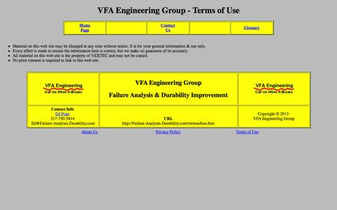 Screenshot of Terms Page failure-analysis-durability.com - VFA Engineering Group - Terms of Use - captured Oct. 7, 2014