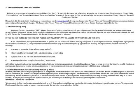 Screenshot of Privacy Page aci-inc.biz - INSERTCLIENT Privacy Policy - captured Oct. 4, 2014