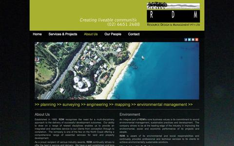 Screenshot of About Page resdesmannsw.com.au - Surveying services Coffs Harbour – Resource Design & Management Pty Ltd - captured Nov. 5, 2014