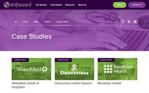 Screenshot of Case Studies Page shiftwizard.com - Resources | ShiftWizard Workforce Management Healthcare Scheduling - captured Nov. 4, 2017