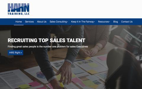 Screenshot of Home Page champtrainer.com - Home - Sales Training: Hahn Training, LLC - captured July 7, 2017