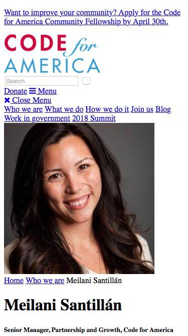 Screenshot of Team Page  codeforamerica.org - Meilani Santillán - Code for America
