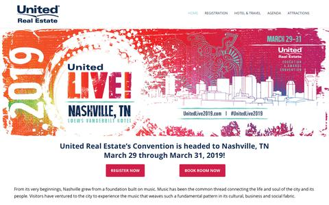 Screenshot of Home Page ureconvention.com - United Real Estate 2019 Training & Awards Convention - captured Oct. 21, 2018