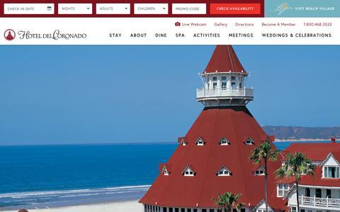 Screenshot of Home Page hoteldel.com - Hotel del Coronado | Coronado Hotel | San Diego Resorts - captured Oct. 23, 2015