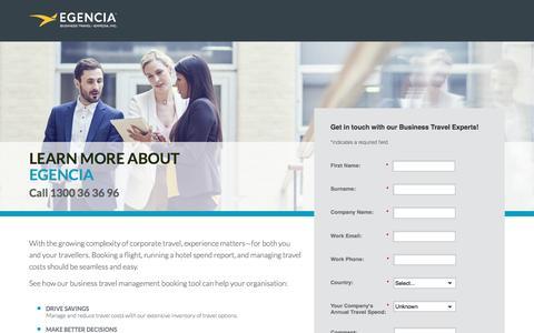 Screenshot of Landing Page egencia.com - Contact Us - Egencia Australia - captured April 26, 2017