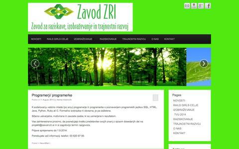 Screenshot of Home Page zavod-zri.si - Zavod ZRI Celje Slovenija | a - captured Oct. 1, 2014