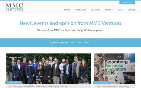 Screenshot of Press Page mmcventures.com - News - MMC Ventures - captured Feb. 4, 2016