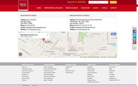 Screenshot of Contact Page redcarpettours.net - Red Carpet Tours - Contact Us - captured Nov. 3, 2014