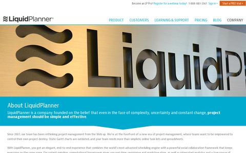 Screenshot of About Page liquidplanner.com - Find Out More About LiquidPlanner - captured July 21, 2014