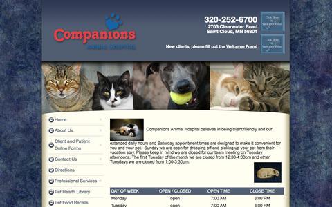 Screenshot of Hours Page companionsweb.com - Hours - captured Oct. 3, 2014