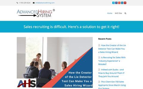 Screenshot of Blog advancedhiring.com - Sales Hiring System for Sales Managers - captured Dec. 17, 2018