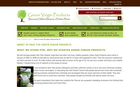 Screenshot of About Page greenvirginproducts.com - Soap Nuts, What We stand for, Why we started Green Virgin Products - captured Sept. 24, 2014