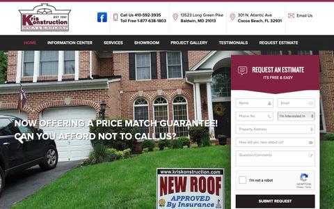 Screenshot of Home Page kriskonstruction.com - Home Improvement Companies | Harford County Contractors | Kris Konstruction - captured Nov. 15, 2018