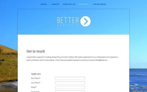 Screenshot of Contact Page better.vc - Better Ventures | technology for good | contact | apply — Better Ventures - captured Sept. 19, 2014