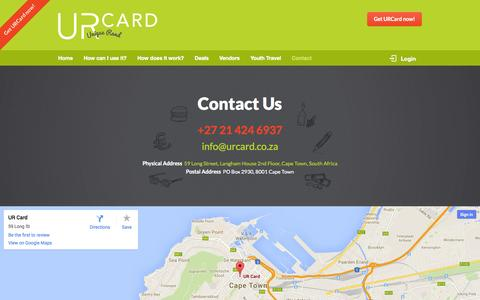 Screenshot of Contact Page urcard.co.za - UR Card - The prepaid debit card for travellers in South Africa - Accredited by MasterCard - captured Sept. 30, 2014