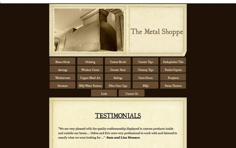 Screenshot of Testimonials Page themetalshoppe.net - The Metal Shoppe, Custom Metal Fabrication and Coppersmithing - Testimonials - captured Jan. 12, 2016