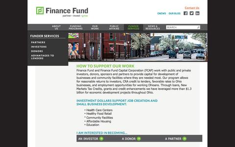 Screenshot of Support Page financefund.org - FINANCE FUND -- FUNDER SERVICES - captured Aug. 3, 2016