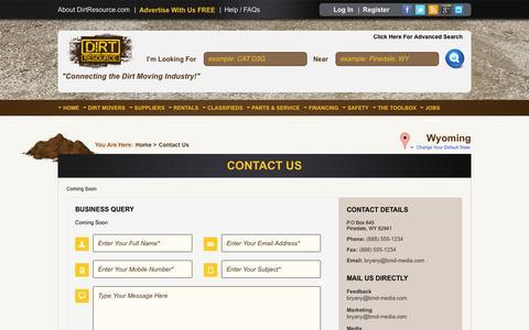 Screenshot of Contact Page dirtresource.com - Dirt Resource | Contact Us - captured Sept. 30, 2014