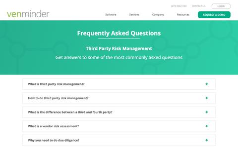 Screenshot of FAQ Page venminder.com - Frequently Asked Questions - captured Oct. 24, 2018