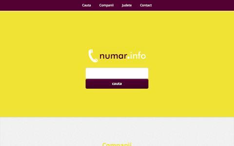 Screenshot of Home Page numar.info - Numar Info - Date contact societati comerciale si institutii publice - captured Jan. 26, 2017