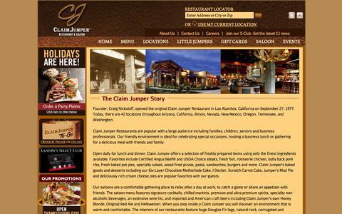 Screenshot of About Page claimjumper.com - Claim Jumper Restaurants - captured Nov. 4, 2014