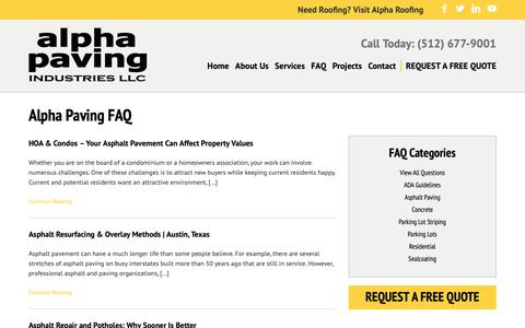 Screenshot of FAQ Page alphapavingtexas.com - Frequently Asked Questions Archive - Alpha Paving Industries - captured Oct. 3, 2018