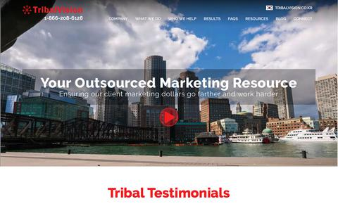 Screenshot of Home Page tribalvision.com - Boston & Rhode Island Digital Marketing and Advertising Agency - captured May 18, 2018