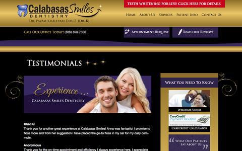 Screenshot of Testimonials Page calabasassmiles.com - Testimonials - Dentist in Calabasas | Calabasas Smiles | Calabasas, CA - captured Sept. 27, 2014
