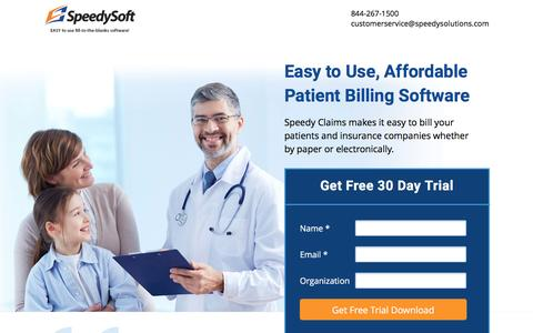 Screenshot of Landing Page speedysoftusa.com - Speedy Claims Billing & Claims Software - captured Aug. 17, 2016
