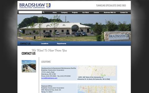 Screenshot of Contact Page Locations Page bradshawcc.com - Locations - Bradshaw Construction Corporation - captured Oct. 23, 2014