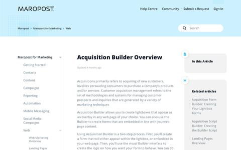 Screenshot of Support Page maropost.com - Acquisition Builder Overview – Maropost - captured July 1, 2019