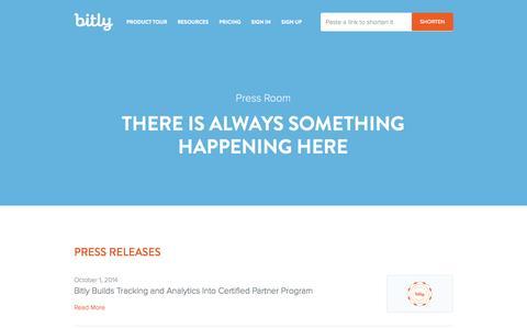 Screenshot of Press Page bitly.com - Press Room | Bitly - captured Oct. 29, 2014