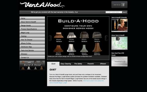 Screenshot of Home Page ventahood.com - Range Hoods, Kitchen Ventilation, Range Vent Hood Styles :: Vent-A-Hood® - captured Sept. 25, 2014