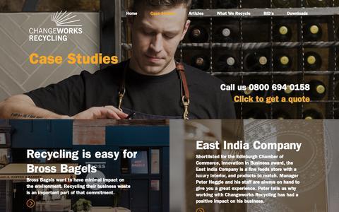 Screenshot of Case Studies Page changeworksrecycling.co.uk - Case Studies   Changeworks Recycling - captured Nov. 10, 2018