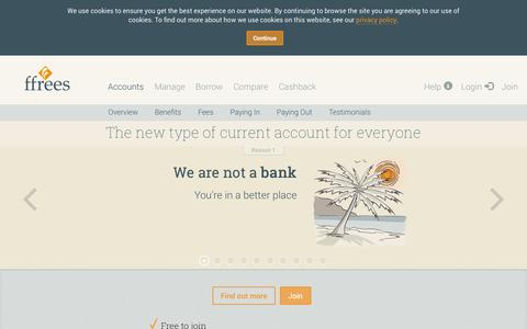 Screenshot of Home Page ffrees.co.uk - Ffrees - Free alternative to basic bank accounts. No credit check. - captured Sept. 16, 2014