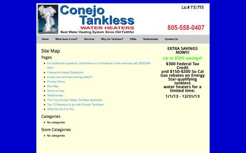 Screenshot of Site Map Page conejotankless.com - Site Map » Conejo Tankless Water Heaters - captured Oct. 2, 2014