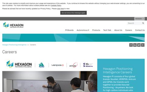 Screenshot of Jobs Page hexagonpositioning.com - Careers | Hexagon Positioning Intelligence - captured Oct. 19, 2018