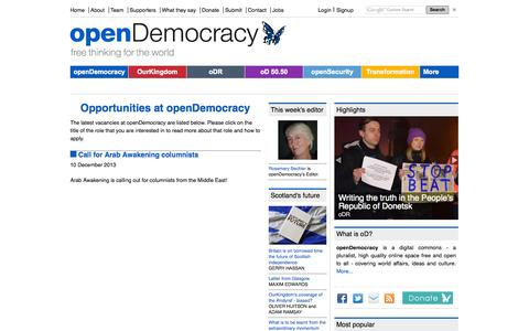Screenshot of Jobs Page opendemocracy.net - Opportunities at openDemocracy   openDemocracy - captured Sept. 19, 2014