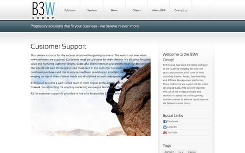 Screenshot of Support Page b3wgroup.com - B3W GroupCustomer Support - B3W Group - captured Sept. 30, 2014