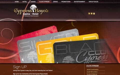 Screenshot of Signup Page cypressbayou.com - Club Cypress Bayou Sign-up - captured Oct. 3, 2014