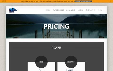 Screenshot of Pricing Page metisme.com - Pricing | MetisMe Attachments App - captured Oct. 30, 2014